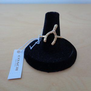 Coach Jewelry - Coach Pave Wishbone Ring Gold Swarovski Size 8 NEW